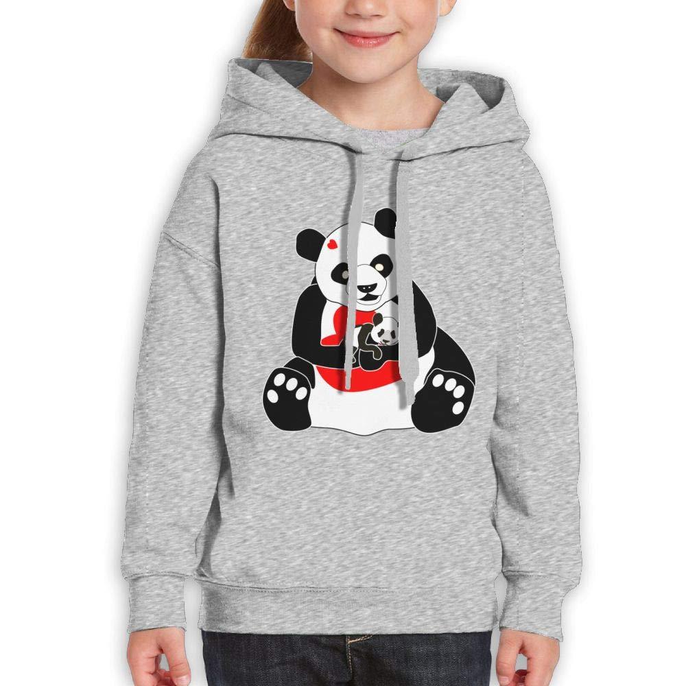 Cartoon Panda Mother and Baby with Heart Kids Hoody Long Sleeve Sweatshirt Girl