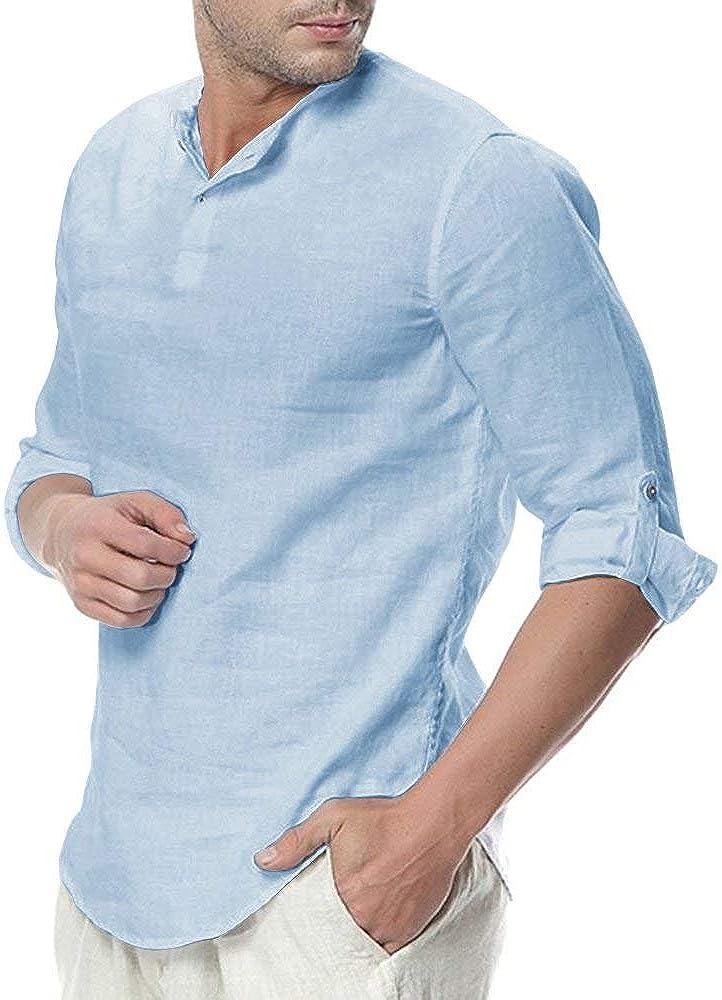 ShallGood Camisa Hombre Cuello Mao Lino Blusa Manga 3/4 Camisas Top Sin Cuello De Color Sólido Blusas Suelta Camisas De Trabajo Suave Cómodo Transpirable