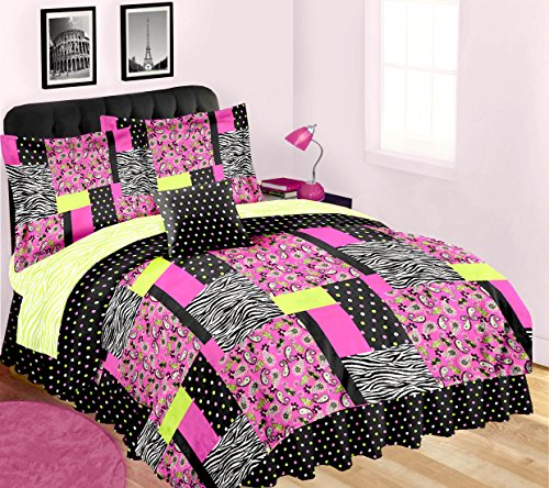 (Safari Home 8pcTeen Girl Pink Black Lime Zebra Stripe Paisley Polka Dot Patchwork FULL Size Comforter and Sheet Set (Bed In A Bag))