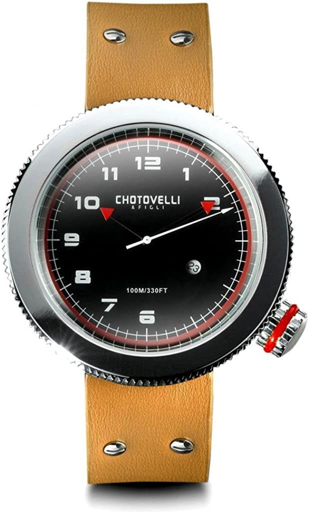 Chotovelli Men's Racing Watch Alfa Romeo Gauge dial Sapphire Leather Strap 40.100