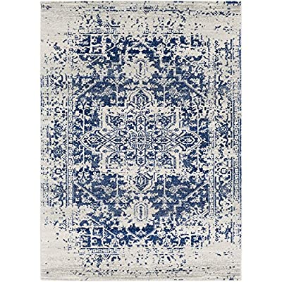 Janine Navy Blue Updated Traditional Area Rug 2' x 3' - Power-loomed construction makes this rug perfect for high-traffic areas; reduces shedding Updated Traditional style adds a contemporary twist to an esteemed classic motif Polypropylene is durable, stain resistant, and easy to clean - living-room-soft-furnishings, living-room, area-rugs - 61JaPlXkQZL. SS400  -