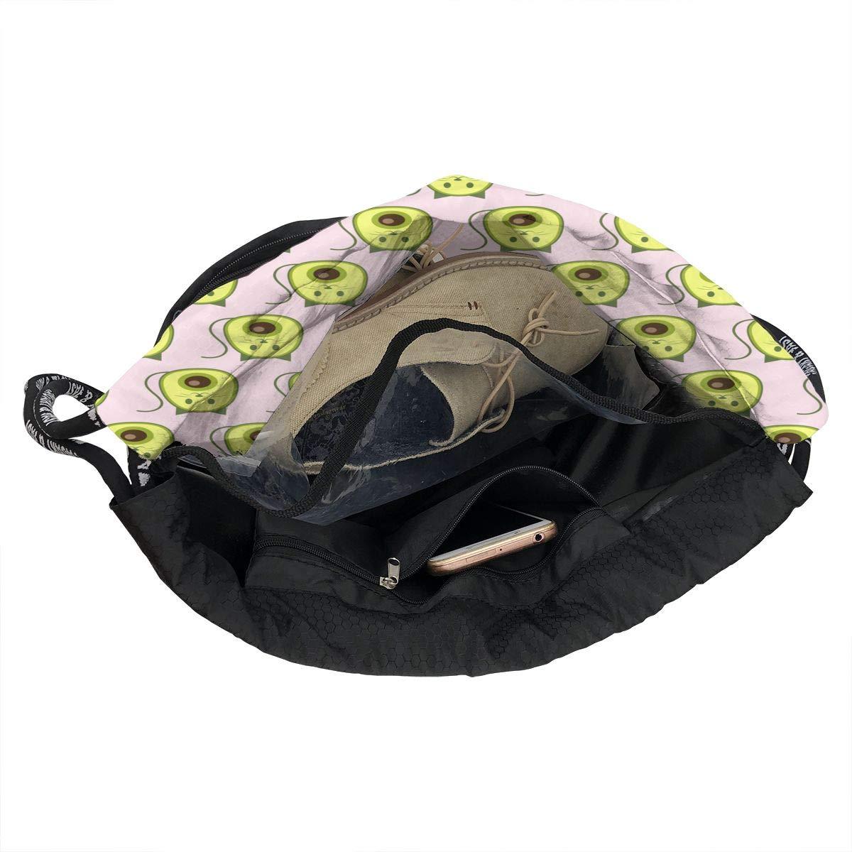 HUOPR5Q Cat and Avocado Drawstring Backpack Sport Gym Sack Shoulder Bulk Bag Dance Bag for School Travel