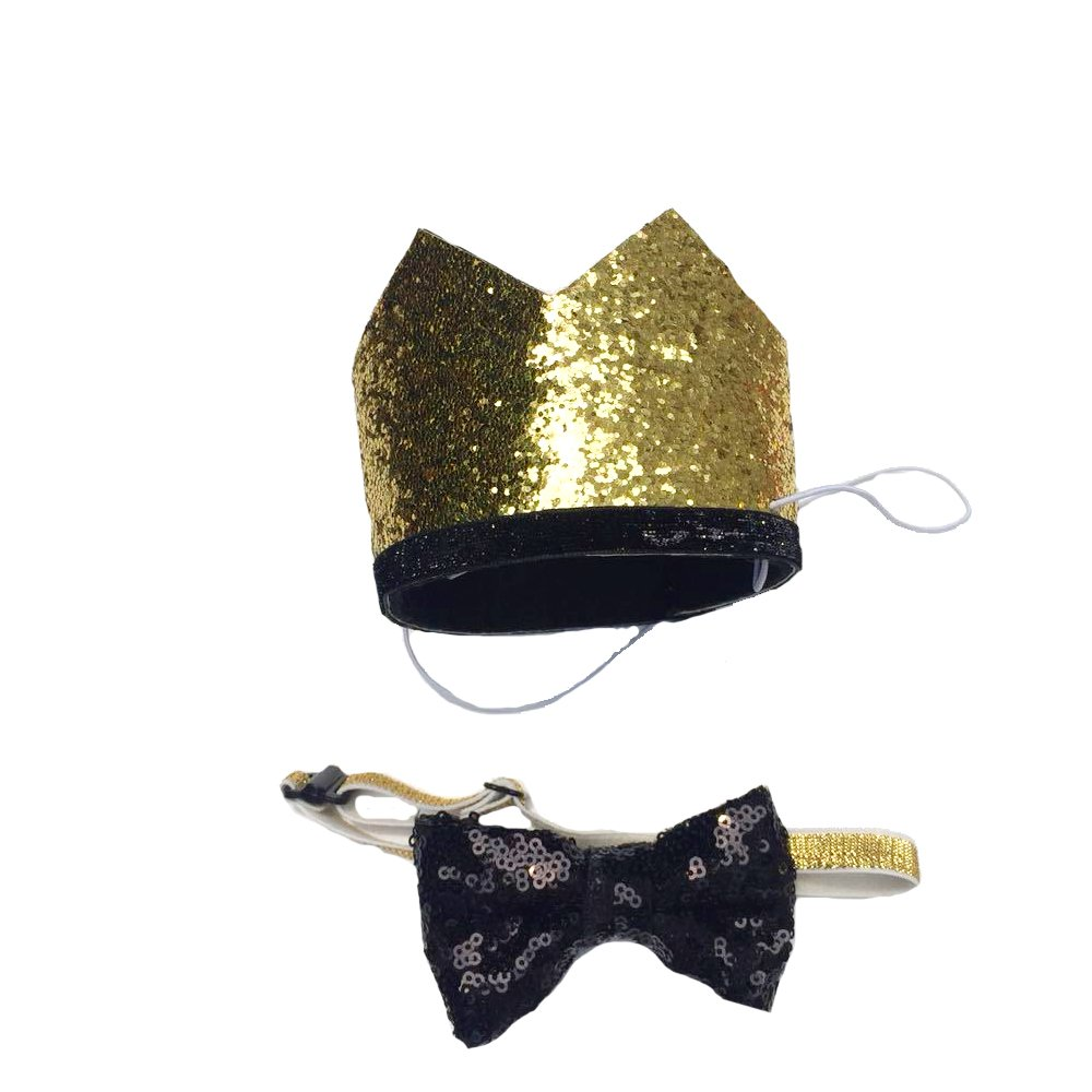 Petsidea Cute Pet Birthday Crown Hat and Bow tie Collar Set for Dog Cat Birthday Party Supplies (Gold)