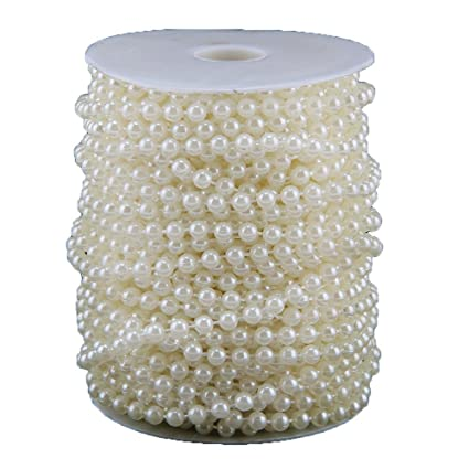 25M 6MM Pearl Beads Garland String Spool Rope Wedding Bridal Party Decor New