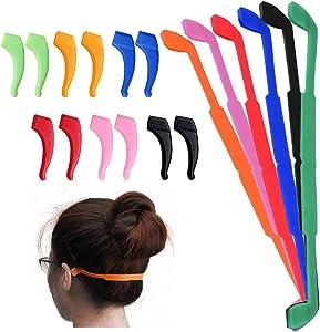 SENHAI 6 Pack Anti-Slip Silicone Glasses Straps with 6 Pairs Ear Grip Hooks, Soft Eyewear Retainer Eyeglasses Holder for Kids Adult Sports - Black, Red, Orange, Pink, Blue, Green