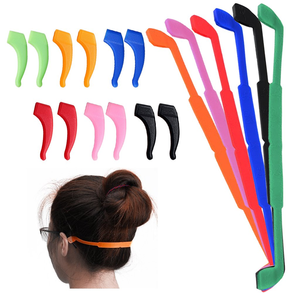 Senhai 6pezzi antiscivolo in silicone occhiali cinghie con 6paia orecchio grip ganci, morbido occhiali fermo supporto occhiali per bambini adulti sport–nero, rosso, arancione, rosa, blu, verde