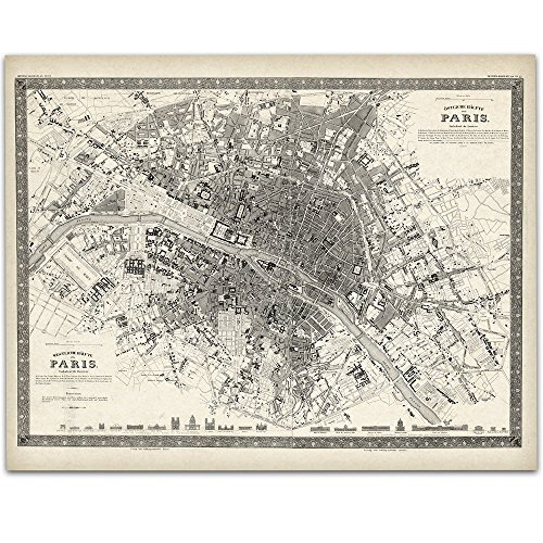 Paris France Map 1844-11x14 Unframed Art Print - Great Vintage Home Decor