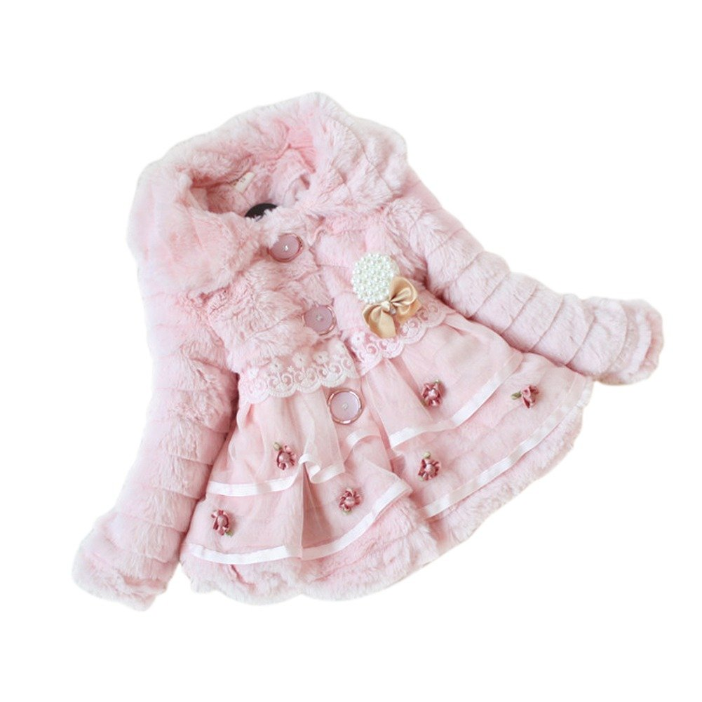 iEFiEL Baby Girls Infant Faux Fur Flower Pearl Coat Winter Warm Jacket Snowsuits
