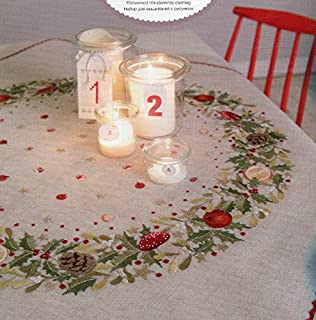 Traced Linen Kit T201467 Oblong Table Cloth for Embroidery
