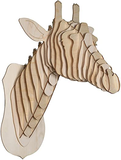 Cardboard Safari Baltic Birch Plywood Animal Taxidermy Giraffe Trophy Head