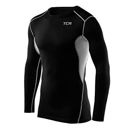 3ebd2027b58 TCA Men s Boys HyperFusion Thermal Compression Shirt Long Sleeve Base Layer  Top - Black Gray