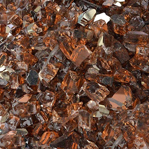 Stanbroil 10-Pound 1/4 inch Fire Glass for Fireplace Fire Pit, Copper Reflective Fireglass ()