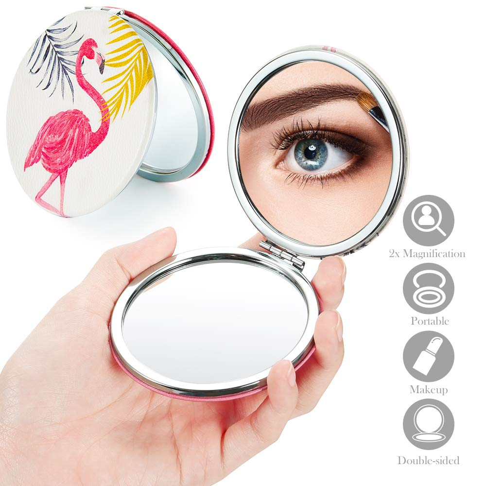 2x 1x Double Sided Compact Pocket Mirror – 3 Flamingo Pattern Travel Magnifying Makeup Mirror Small High Definition Magnification Metal Purse Cosmetic Mirror with Leather Cover Portable Round