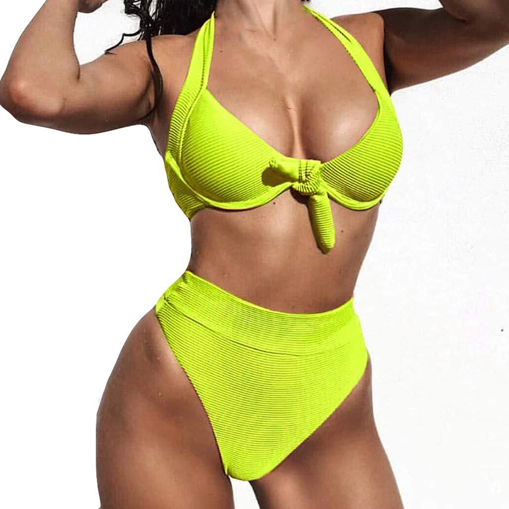 81779b373d6 Amazon.com: Women Bikini Set Two Piece Sexy Halter Tie Knot Front Crop  Bikini Top with High Waist Bottoms Swimsuit Bathing Suit: Musical  Instruments