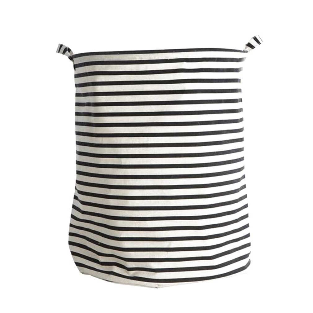 junkai Cesta de lavadero, cesta de lavadero plegable de lino de algodón impermeable, cesta de almacenaje de lona arpillera cilíndrico con diseño de raya: ...
