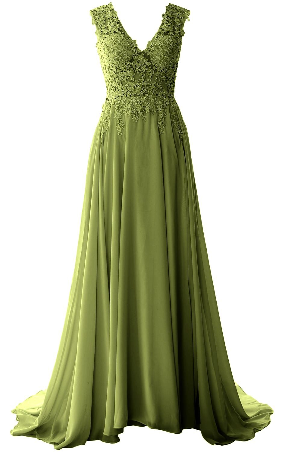 MACloth Elegant V Neck Long Prom Dress Vintage Lace Chiffon Formal Evening Gown (8, Olive Green)