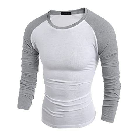 Camisa Hombres, BBestseller Delgado Casual Transpirable Top de Manga Larga Cuello Alto de Color Sólido