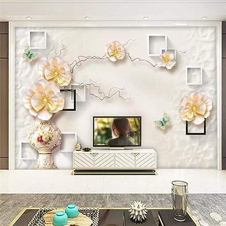 Papier Peint 3d Bijoux Stereo Rose Vase Boite Geometrique Peinture