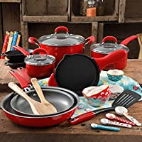 The Pioneer Woman Vintage Speckle 24 Piece Cookware Combo Set (Red)