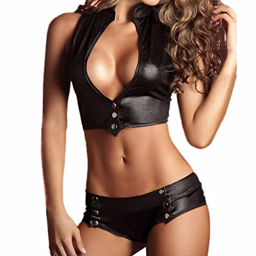 48283b510a6 Amazon.com  FUNIC Women 2 Pcs Set Sexy Bandage Clubwear Stripper Patent  Faux Leather Underwear Lingerie Set (Black)  Clothing