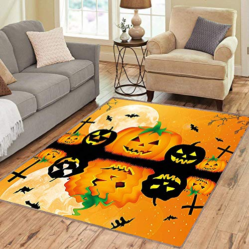 Rug,Floor Mat Rug,Halloween ations,Area Rug,Spooky Carved Halloween Pumpkin Full Moon with Bats and Grave by Lake,Home mat,6'x8'Blue Black and -