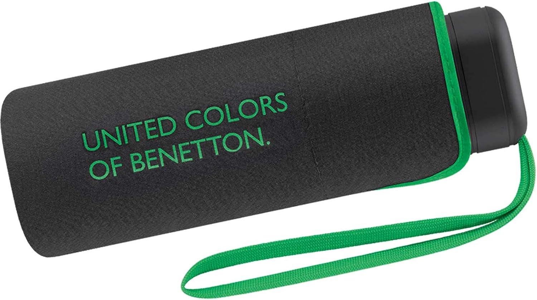 Paraguas Ultra Mini Mujer Manual United Colors of Benetton, Ocho Varillas, 88 cm de diámetro. Color Negro.