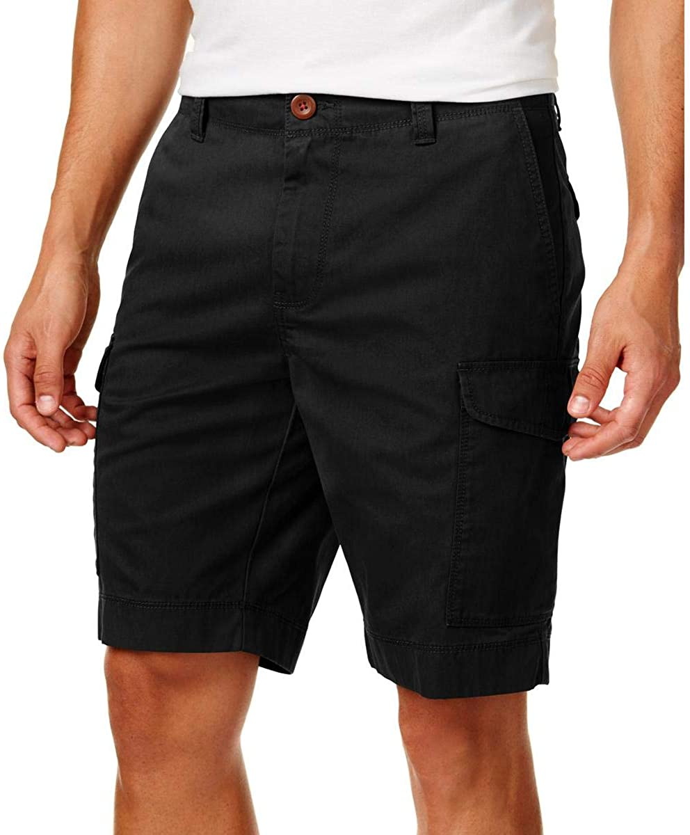 "Tommy Hilfiger Men's Flat Front 10"" Cargo Shorts, Black"