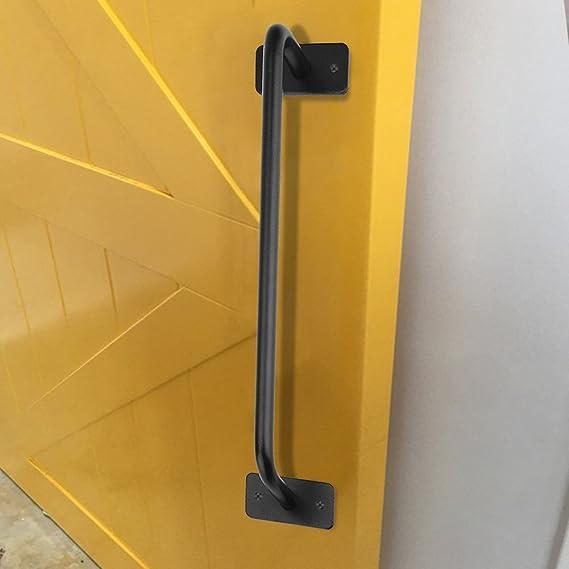 Fdit Socialme-EU Puerta de Hierro Manija Granero Corredera Tirador Metal Manija Negra Puerta Retro Armario Mango Largo Estilo de Campo Americano(S): ...