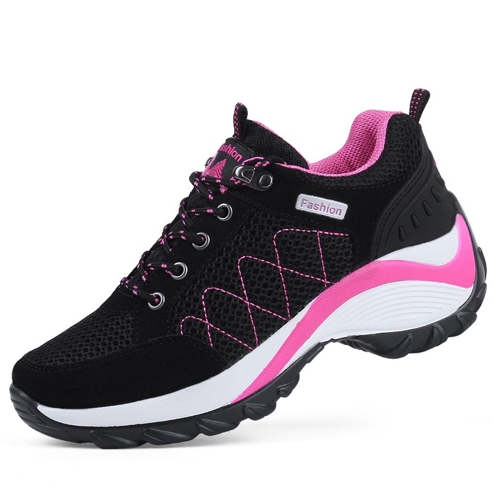 Zenobia Womens Hiking Shoes Mesh Comfort Outdoor Sneakers Breathable Girls Trekking Shoes Black Size 8 (877black40)