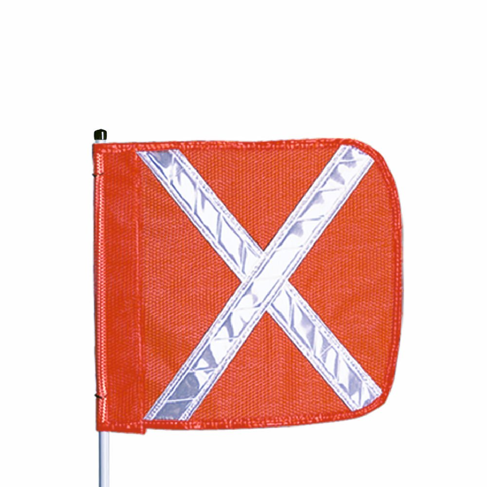 Flagstaff FS10 Split Pole Safety Flag with Reflective X, Male Quick Disconnect Base, 12'' Overall Length, 11'' Overall Width, Orange (Pack of 1)