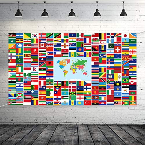 Maitys World Flag Banner International Flags Banner Country Flags Banner Backdrop Decoration with Brass Grommets (Flag Country Banner)