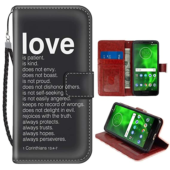 new product 790f7 542a0 Amazon.com: Love Quotes Moto G6 Wallet Case PU Leather Cover and TPU ...