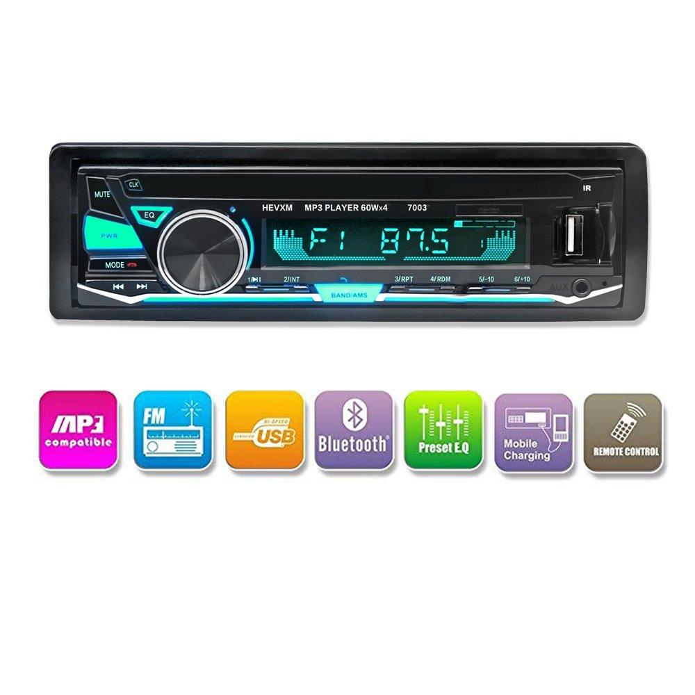LuckyDIY Bluetooth-Autoradio, digitaler Media-Player, Single Din Autoradio, Auto-MP3-Player, USB/SD/TF/FM/Audio-Empfä nger, Freisprechanlage mit kabelloser Fernbedienung, 7 Lichtfarben einstellbar MA2965