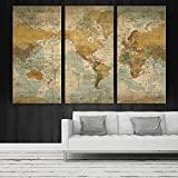 Antique Vintage World Map Large Wall Art, Push Pin Travel Map of World, Vintage Map, Push Pin Map, Push Pin World Map, World Map Canvas Wall Art