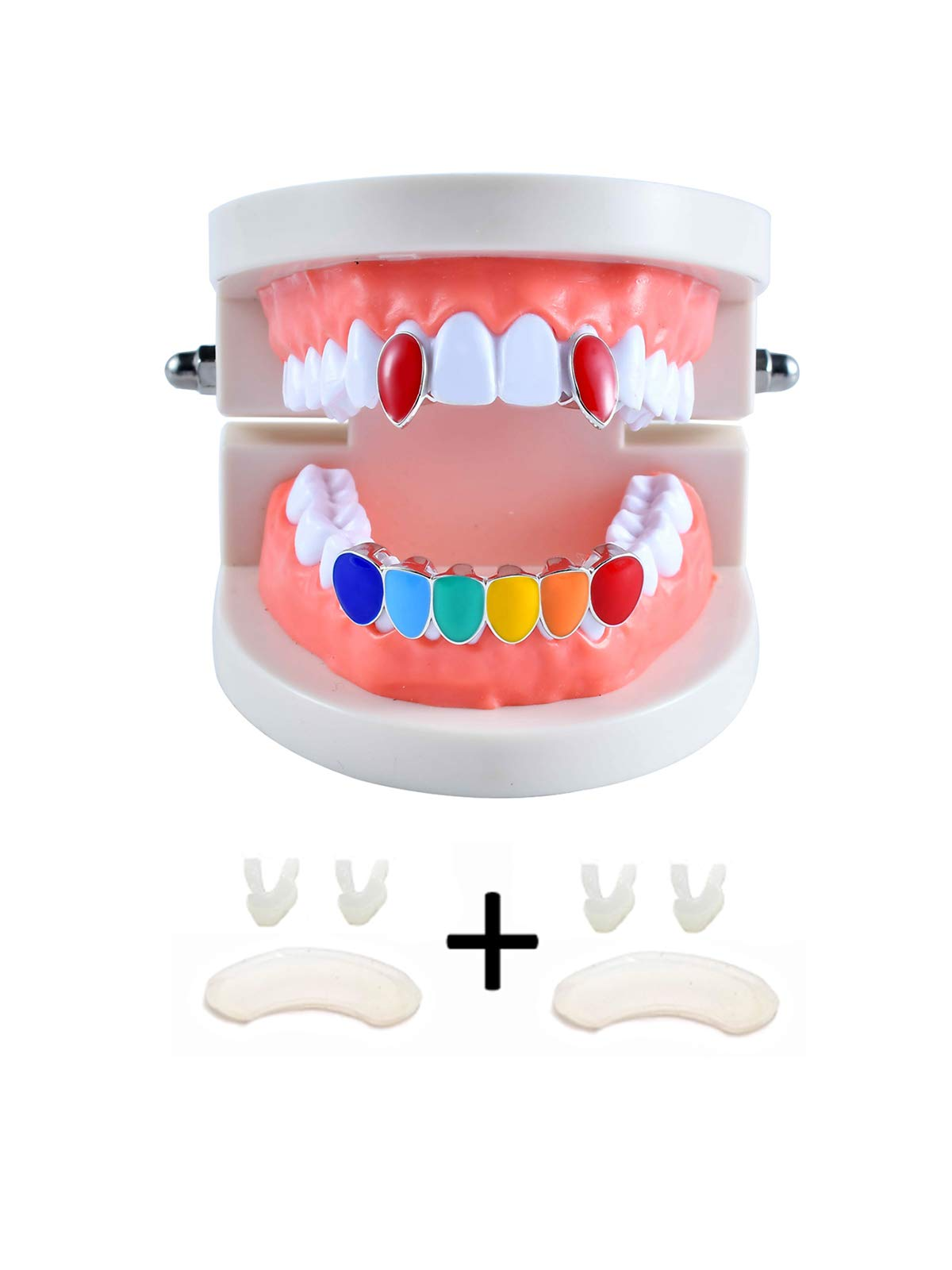 TSANLY Grillz Fangs Rainbow 6ix9ine Top & Bottom Grill Set 24k Gold Plated Vampire Teeth Storage Case + Microfiber Cloth by TSANLY