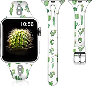 ZAROTO Compatible for Apple Watch 40mm Band Series 6 5/4, iwatch 6 Bands 38mm for Apple Watch SE, iWatch Series 3 2 1, Womens Cute Thin Pattern Slim Soft Silicone Comfortable Band S/M Cactus