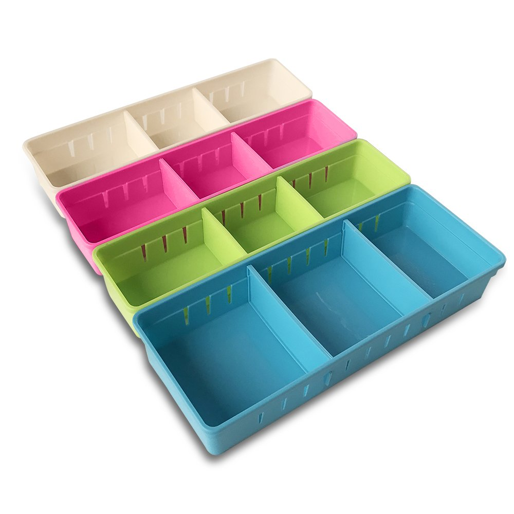 Good Amazon.com : MMMMARILYN Drawer Organizer With 2 Adjustable Drawer Dividers  (White S, Pink S, Green L, Blue L, Pack Of 4) : Office Products