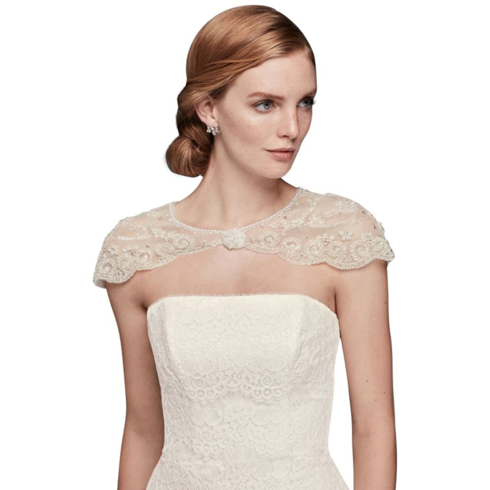 David's Bridal Floral Filigree Beaded Dress Topper Style OW1016, Ivory, L by David's Bridal