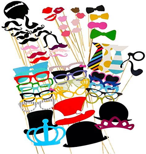 BQD Photo Booth Props 60 piece DIY Kit for Wedding Party Reunions Birthdays Photobooth Dress-up Accessories & Party Favors, Costumes with Mustache on a stick, Hats, Glasses, Mouth, Bowler, Bowties