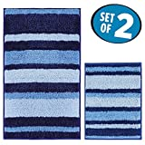 mDesign Soft Microfiber Non-Slip Bathroom Mat/Rug for Bathroom, Vanity, Bathtub/Shower, Dorm Room - Set of 2, Surf Blue