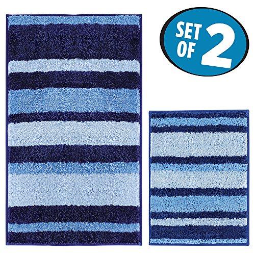 mDesign Soft Microfiber Non-Slip Bathroom Mat/Rug for Bathroom, Vanity, Bathtub/Shower, Dorm Room - Set of 2, Surf Blue by mDesign