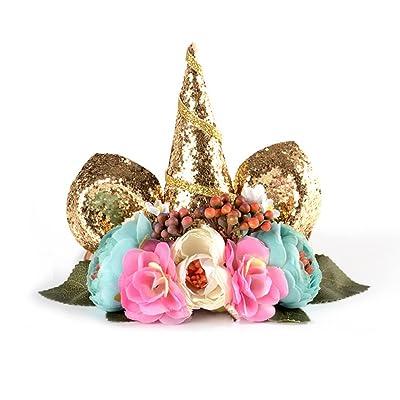 Kingdodo Unicorn Headband Birthday Flower Headband Halloween Christmas Animal Ears