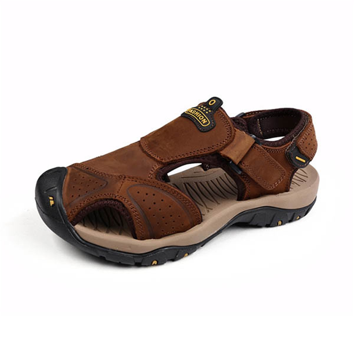 gracosy Men's Outdoor Hiking Sandals Absorption Leather Casual Sandals Anti-Collision