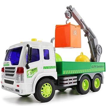 ... showking purificador de reciclar basura coche camión fricción con 1: 16 con luz y música 6 ruedas regalo para los niños: Amazon.es: Jardín