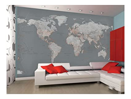 Contemporary Grey World Map Wallpaper Mural Sticker