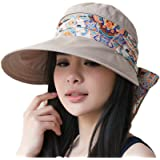 330194d86ac 2-in-1 Folding Roll Up Wide Brim Sun Visor Cap UPF 50+ UV Protection Sun Hat  with Detachable Neck…