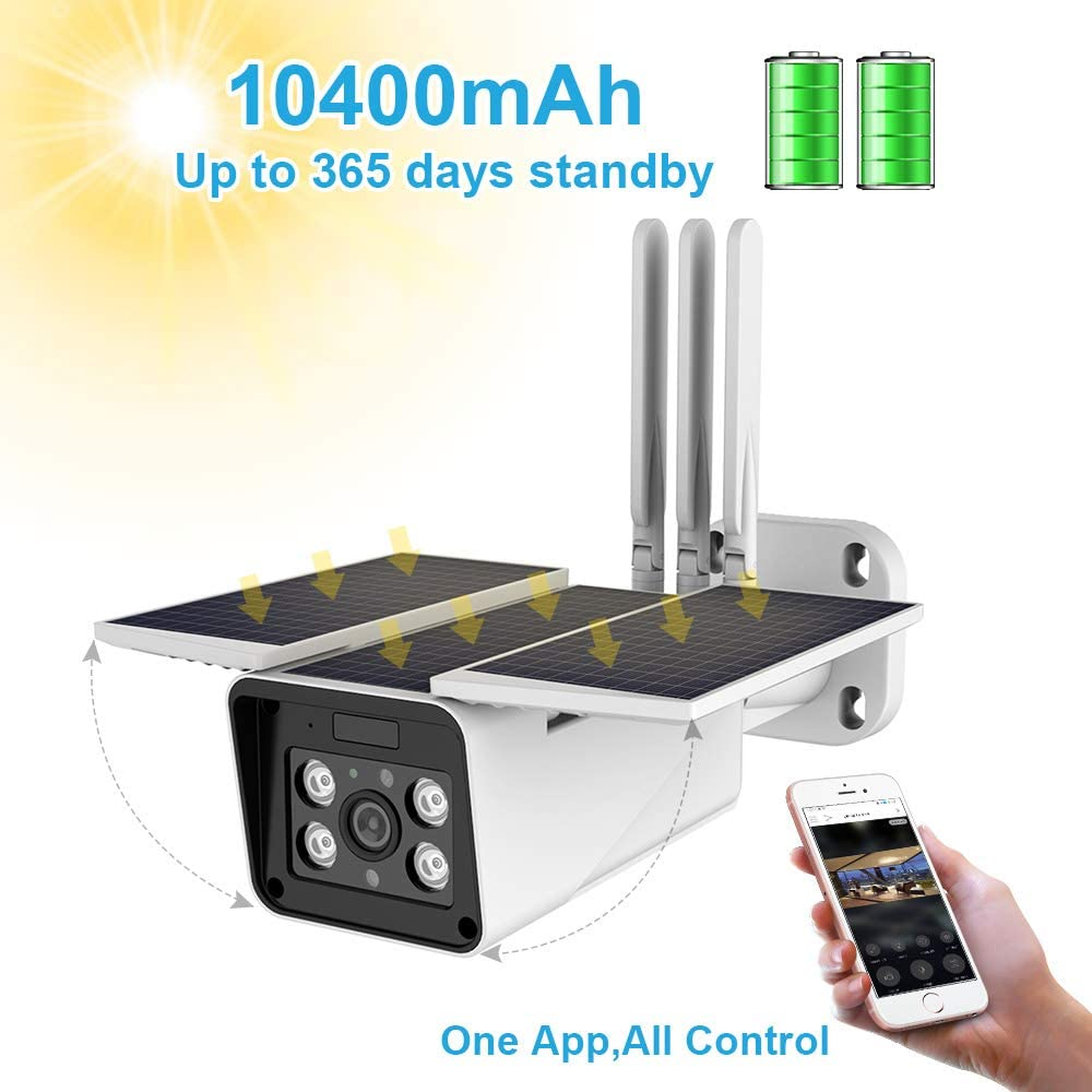 Outdoor Solar Battery Powered Wireless Security Camera,STUCAM 1080P Wirefree CCTV Video Surveillance Camera with 10400mah Battery,Night Vision,Motion Detection,IP67 Waterproof,2-Way Audio Wi-Fi IP Cam