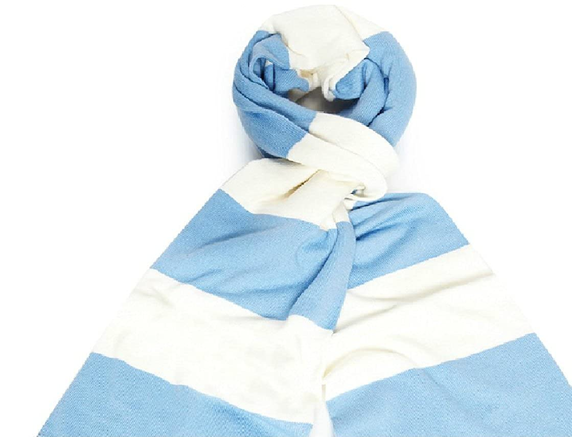 Varsity Scarf Unisex with Double Layer Knit, White Tassel