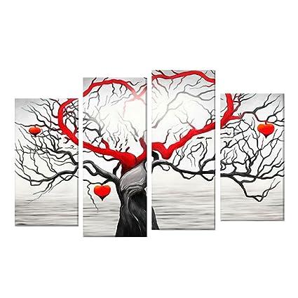 Amazon Com Alamana Wall Painting 4 Pieces Abstract Heart Love Tree