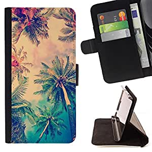 - Queen Pattern FOR Sony Xperia Z1 Compact D5503 /La identificaci????n del cr????dito ranuras para tarjetas tir????n de la caja Cartera de cuero cubie - sun summer palm trees LA l